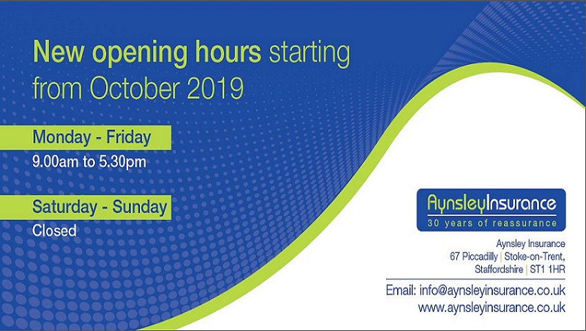 New opening hours effective from October 2019