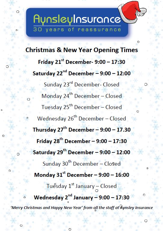Christmas and New Year opening hours 2018